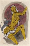 Monkey and a Girl I - M F Husain - Spring Live Auction | Modern Indian Art