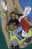 It has to be an Italian invention of Vespa scooters to make lovers embrace each other - M F Husain - Spring Live Auction | Modern Indian Art