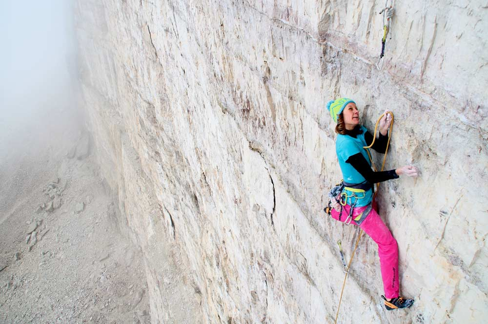 Bergführerin Lisi Steurer an der Großen Zinne