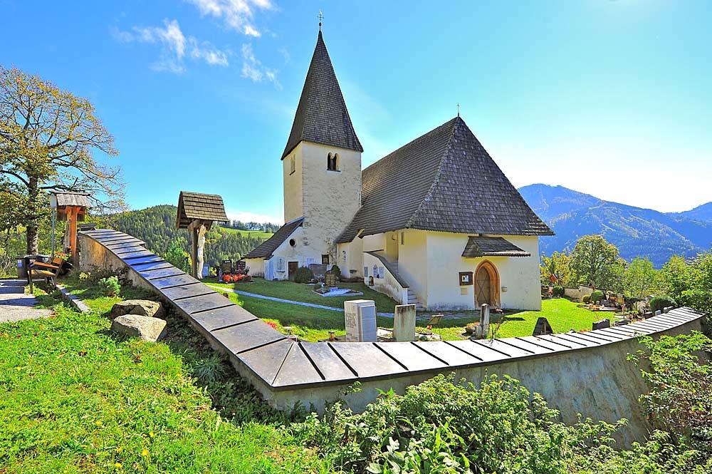 Blick auf die Pfarrkirche Heiliger Johannes der Täufer in Bad Eisenkappel