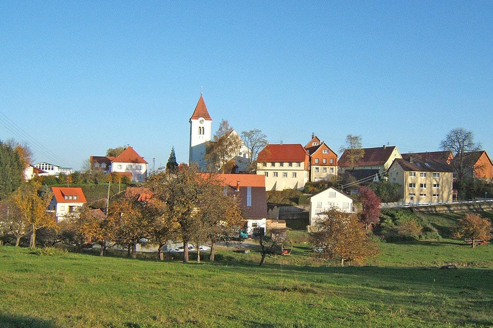 Blick auf das Zentrum von Herdwangen-Schönach