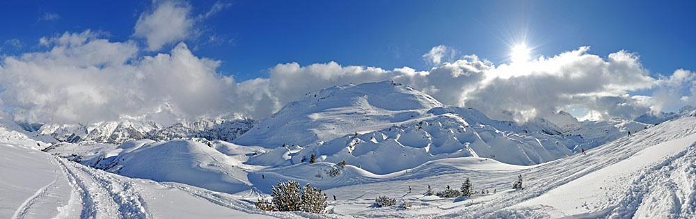 Naturschutzgebiet Gipslöcher bei Lech am Arlberg im Winter