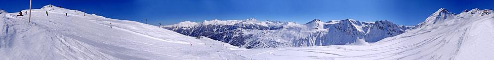 Panoramablick über das Skigebiet Silvretta Montafon