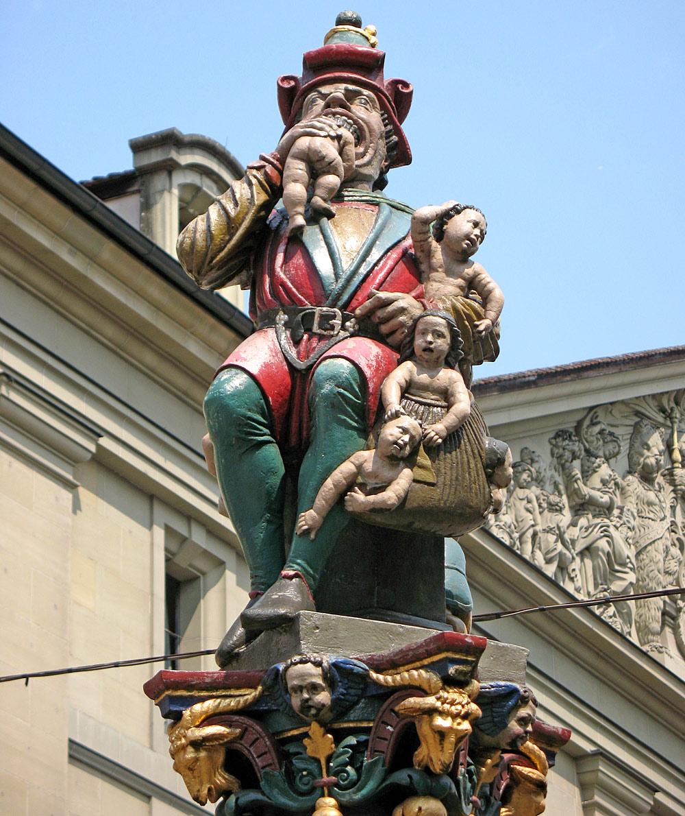 Brunnenfiguren des Kindlifresserbrunnens am Berner Kornhausplatz