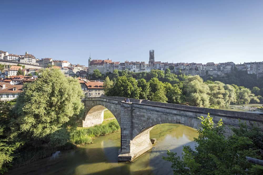 Blick auf Freiburg mit der Saane