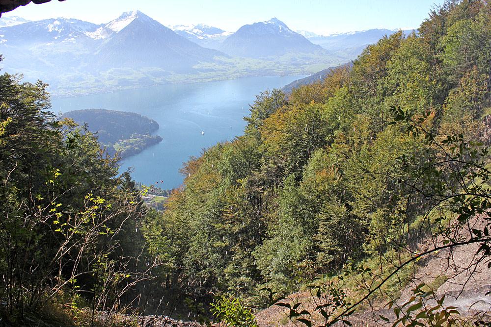 Blick aus der Höhle Steigelfadbalm auf den Vierwaldstättersee