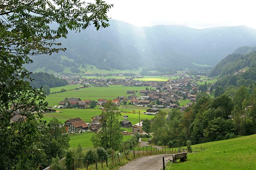 Blick von der Halde auf die Gemeinde Bezau
