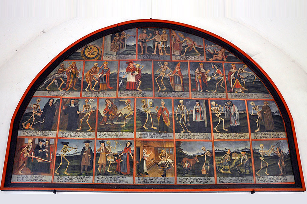 Totentanztafel in der Kreuzkapelle in Emmetten