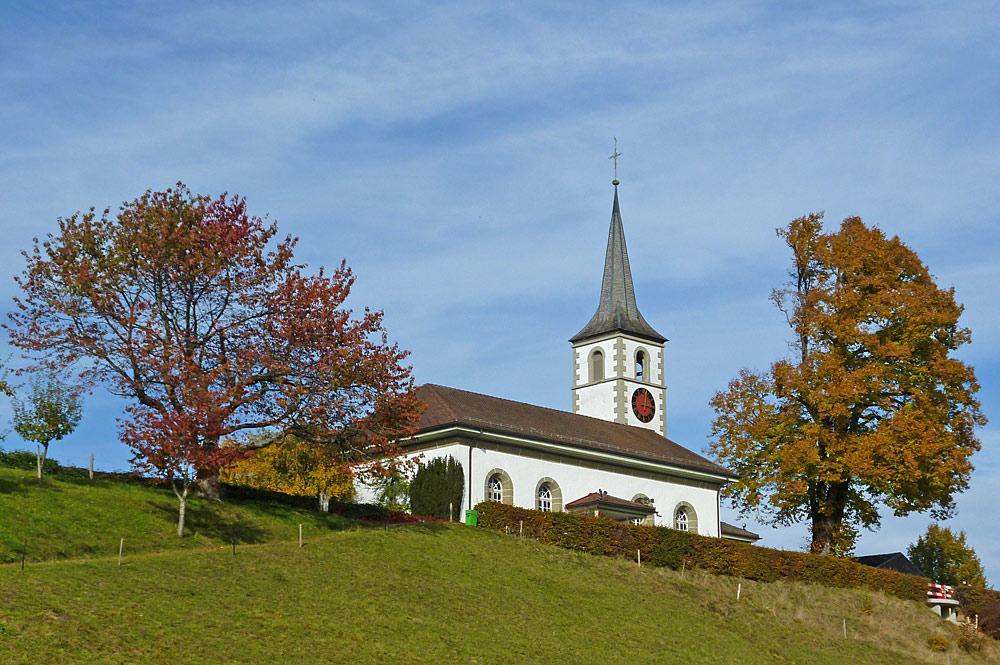 Blick auf die Kirche von Rüschegg