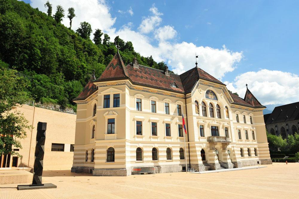 Die Regierungsgebäude am Peter-Kaiser-Platz in Vaduz