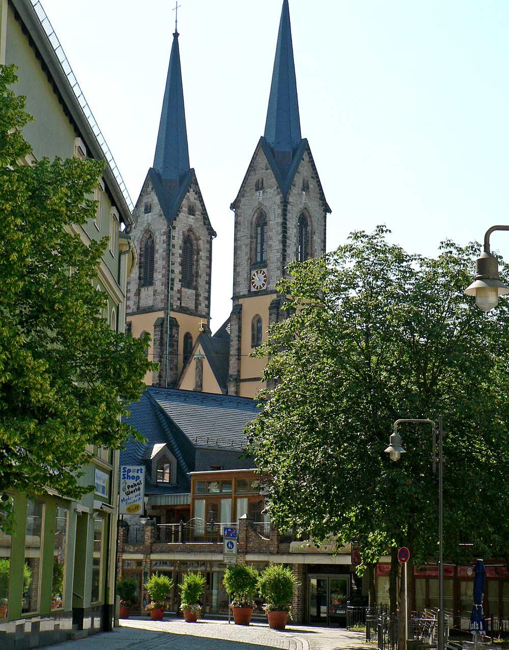 St. Marienkirche in Hof von der Kreuzsteinstraße aus gesehen