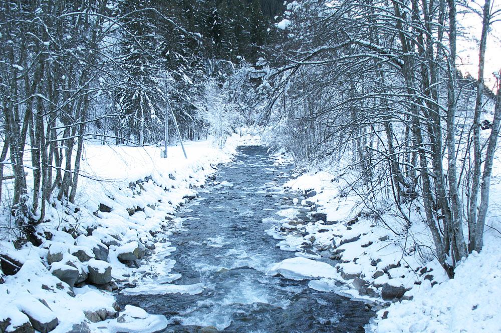 Blick auf den Fluss durch das verschneite Silbertal