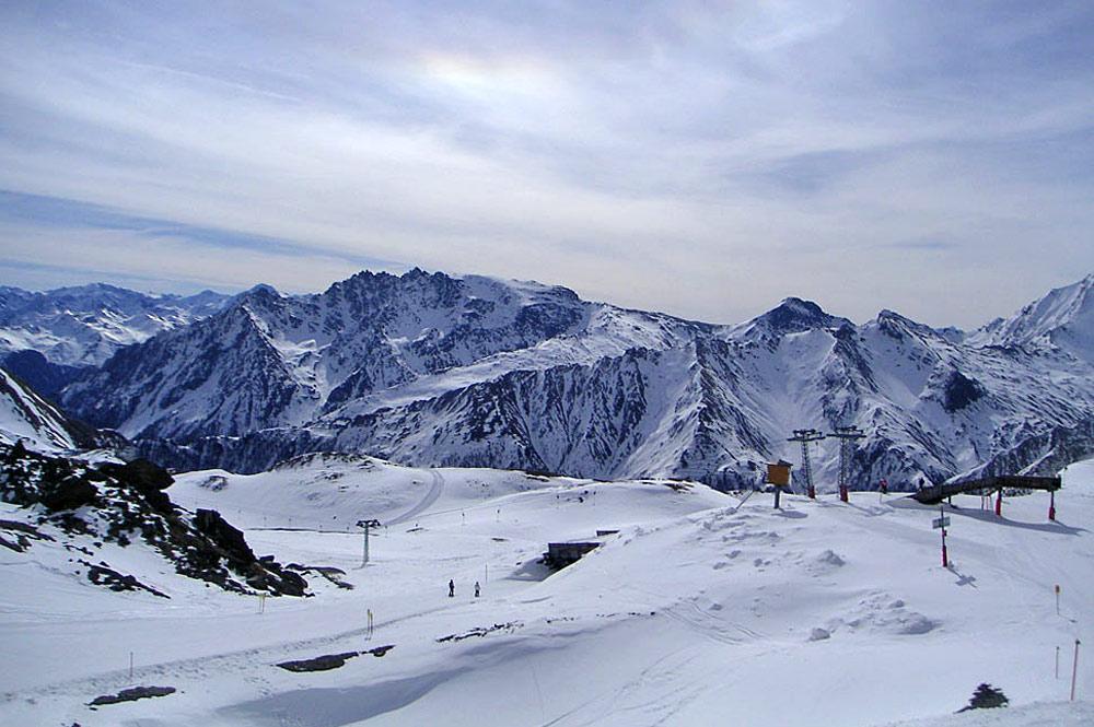 Blick ins Skigebiet Samnaun-Ischgl