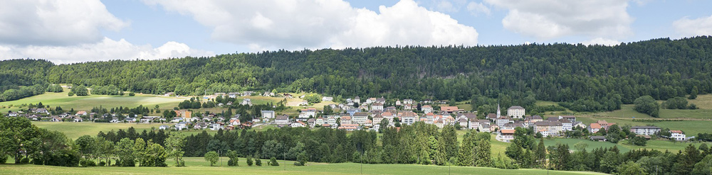 Blick auf Renan im Berner Jura