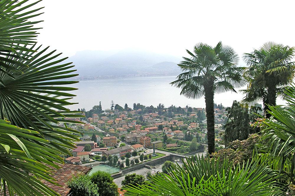 Blick von oben auf Maccagno am Lago Maggiore