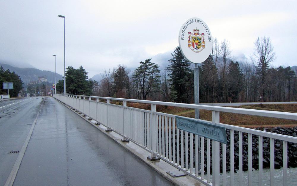 Grenzübergang Schweiz - Liechtenstein bei Wartau