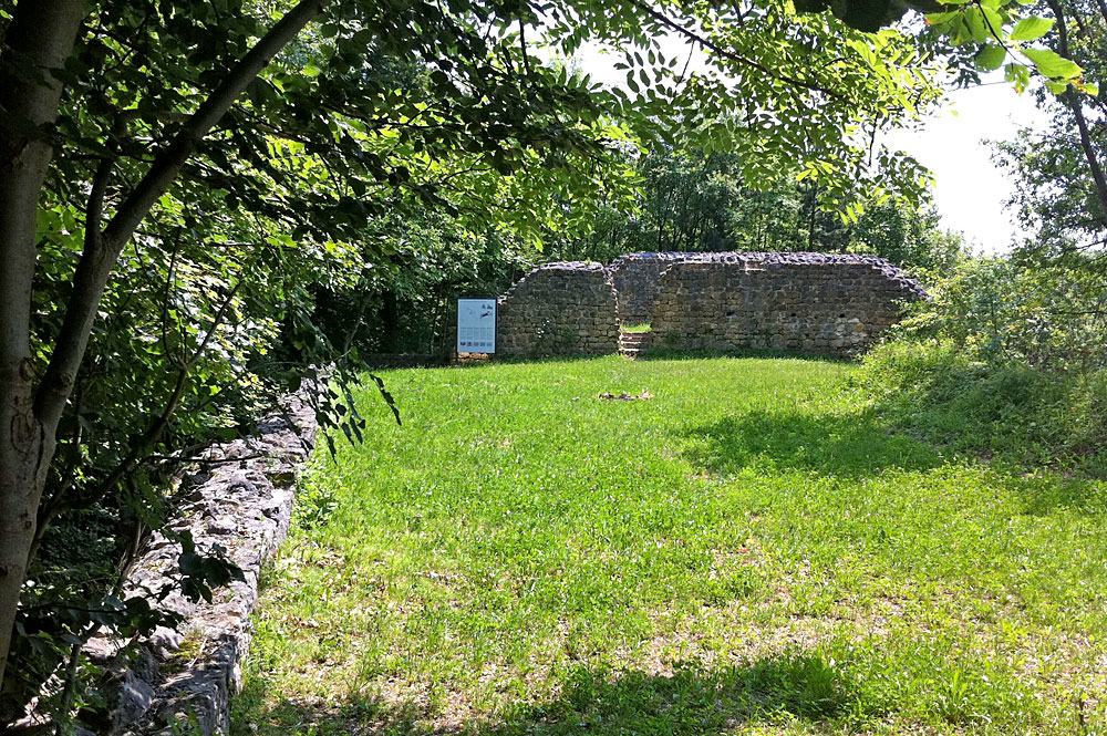 Blick auf die Mauern der Burgruine Altenberg in Füllinsdorf