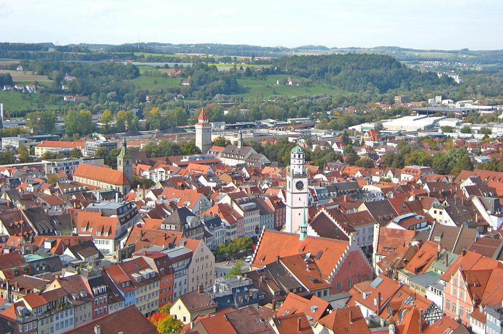 Blick vom Mehlsack-Turm auf die Ravensburger Altstadt