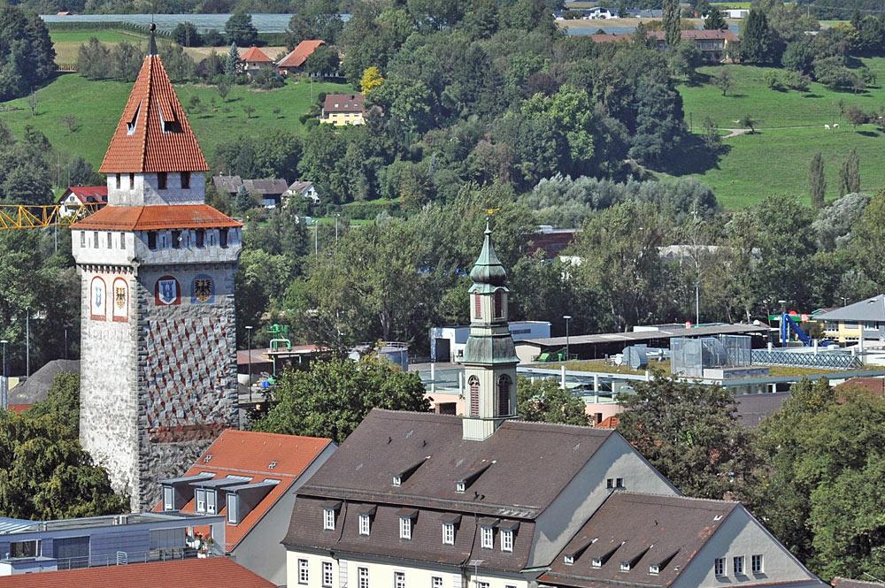 Blick auf den Gemalten Turm in Ravensburg