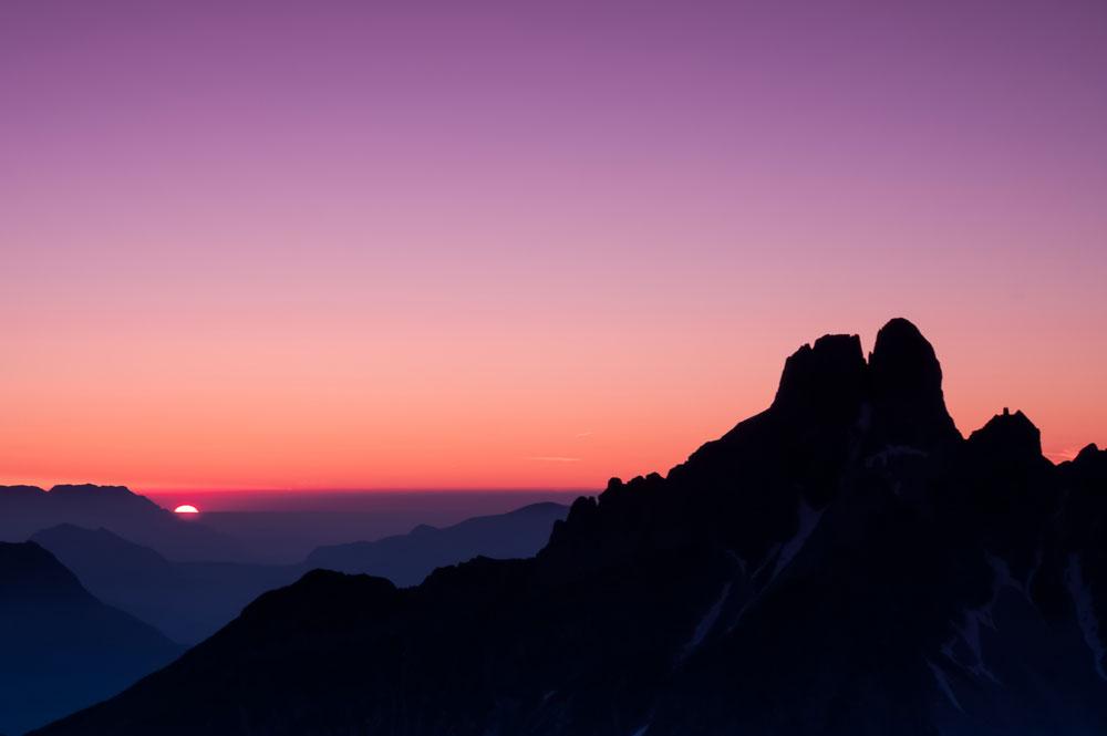 Abendstimmung über den Bergen von Filzmoos