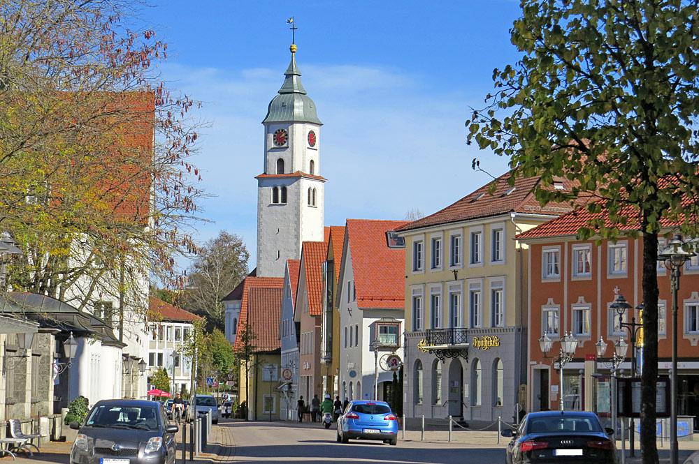Marktstraße mit der Stadtpfarrkirche Bad Wurzach