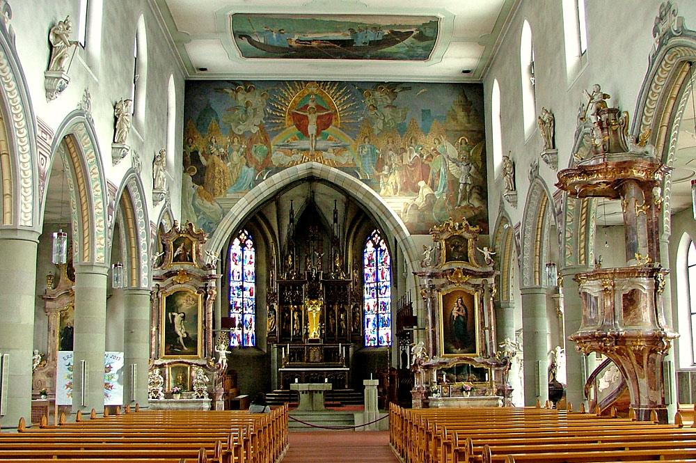 Innenansicht der Pfarrkirche St. Martin in Wangen