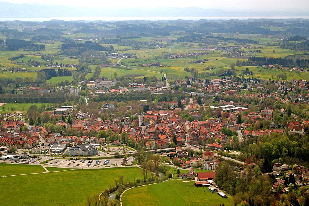 Luftaufnahme von Wangen im Allgäu