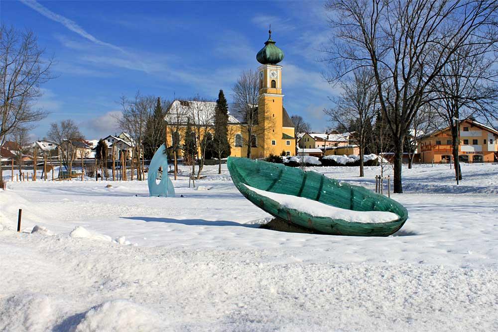 Glasskulptur im Gläsernen Garten in Frauenau im Winter