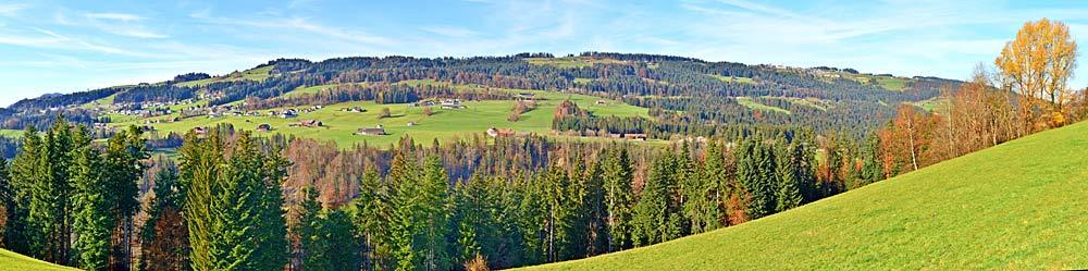 Panoramaaufnahme von Doren und dem Sulzberg