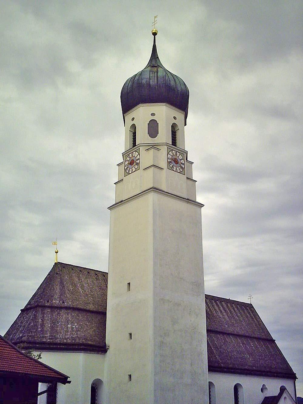 Turm der St. Michael-Kirche in Gaissach