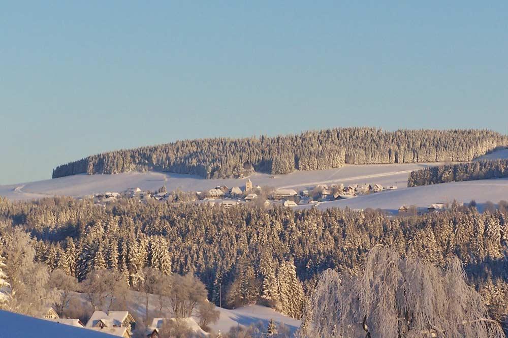 Blick auf das winterliche Breitnau von Hinterzarten aus