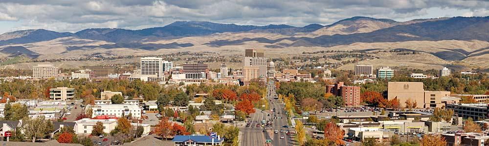 Panorama von Downtown Boise im Herbst