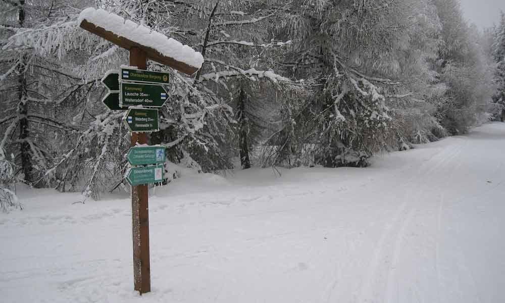 Der verschneite Kammweg bei Großschönau
