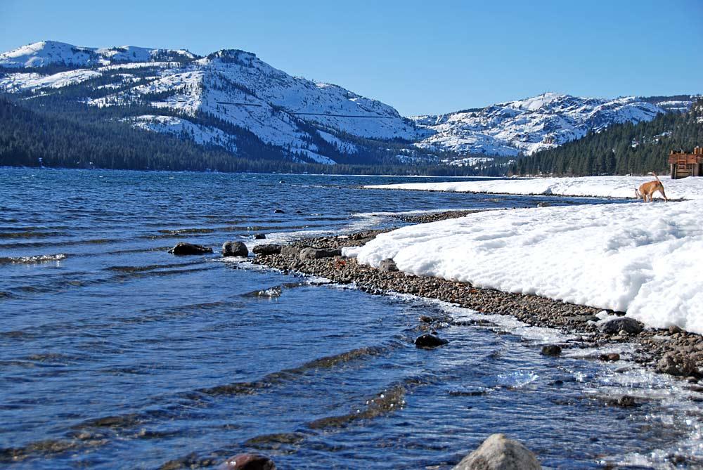 Blick auf den Donner Lake bei Truckee im Winter