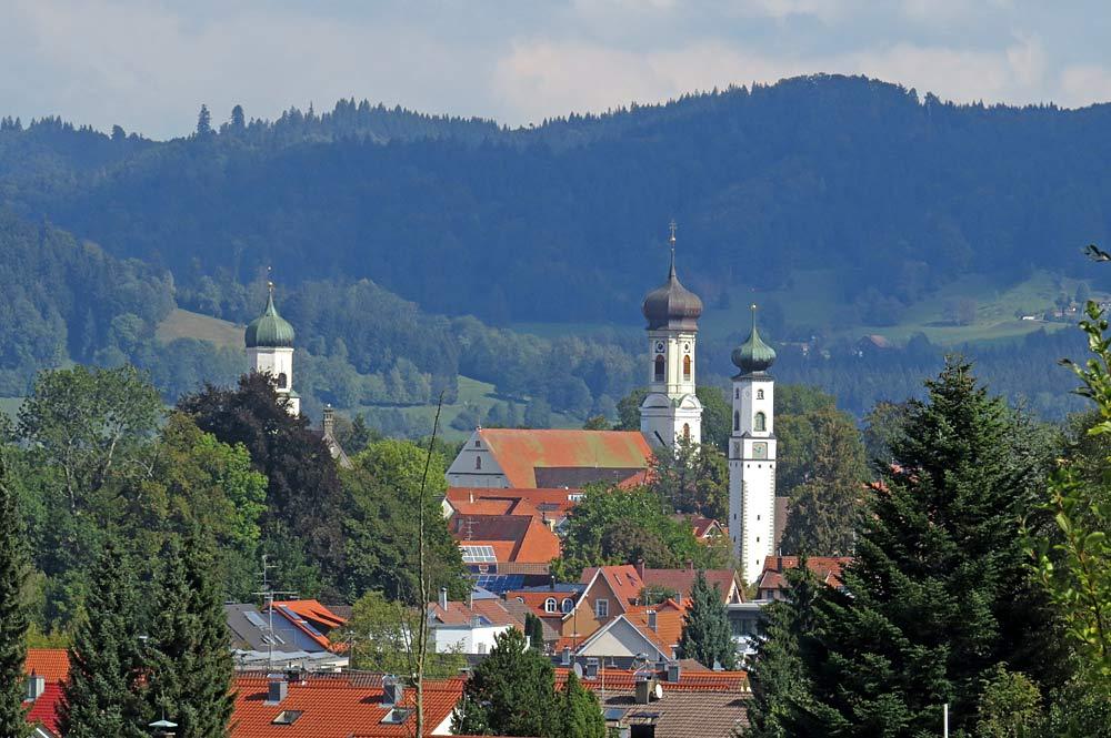 Blick von Südwesten auf Isny im Allgäu