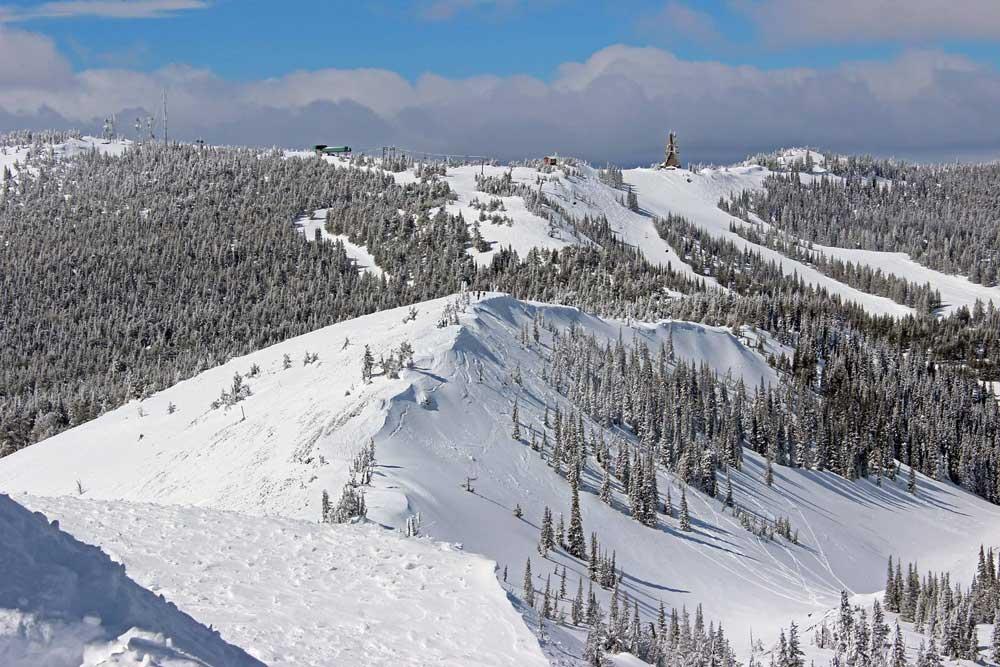 Luftaufnahme des Skigebiets Mission Ridge