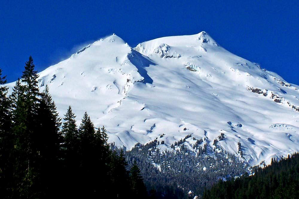 Blick vom Boulder Creek auf den Mount Baker