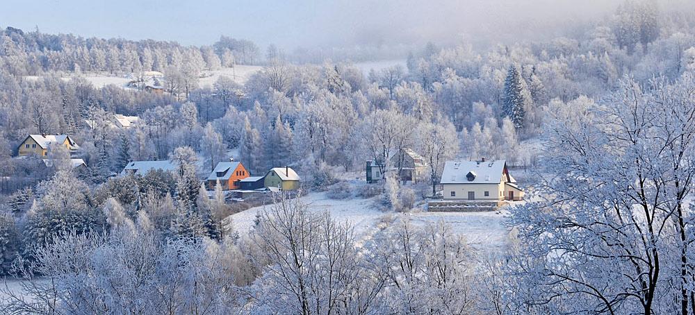 Panorama von Bad Flinsberg im Winter