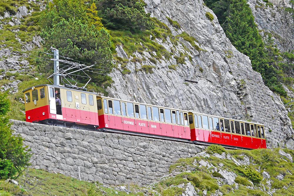 Zug der Schynige-Platte-Bahn bei der Auffahrt auf die Schynige Platte