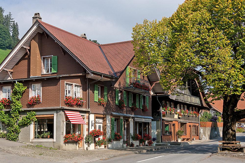 Die Dorfmitte von Guggisberg