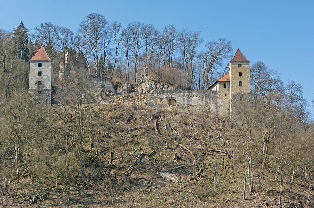 Blick auf die Ruine der Burg Kaltenburg bei Giengen an der Brenz