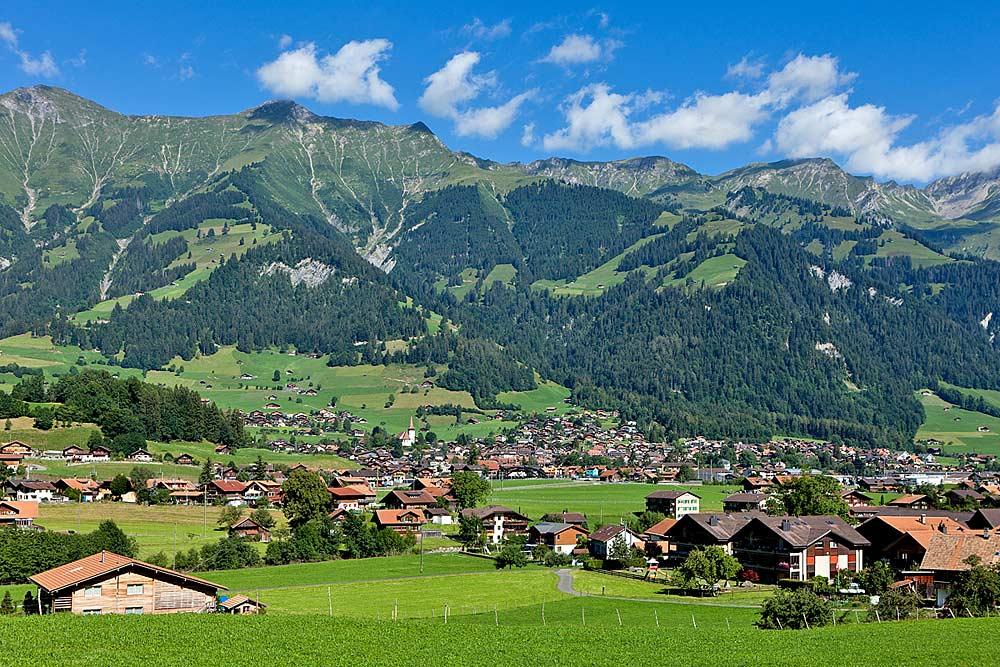 Blick auf Frutigen im Berner Oberland