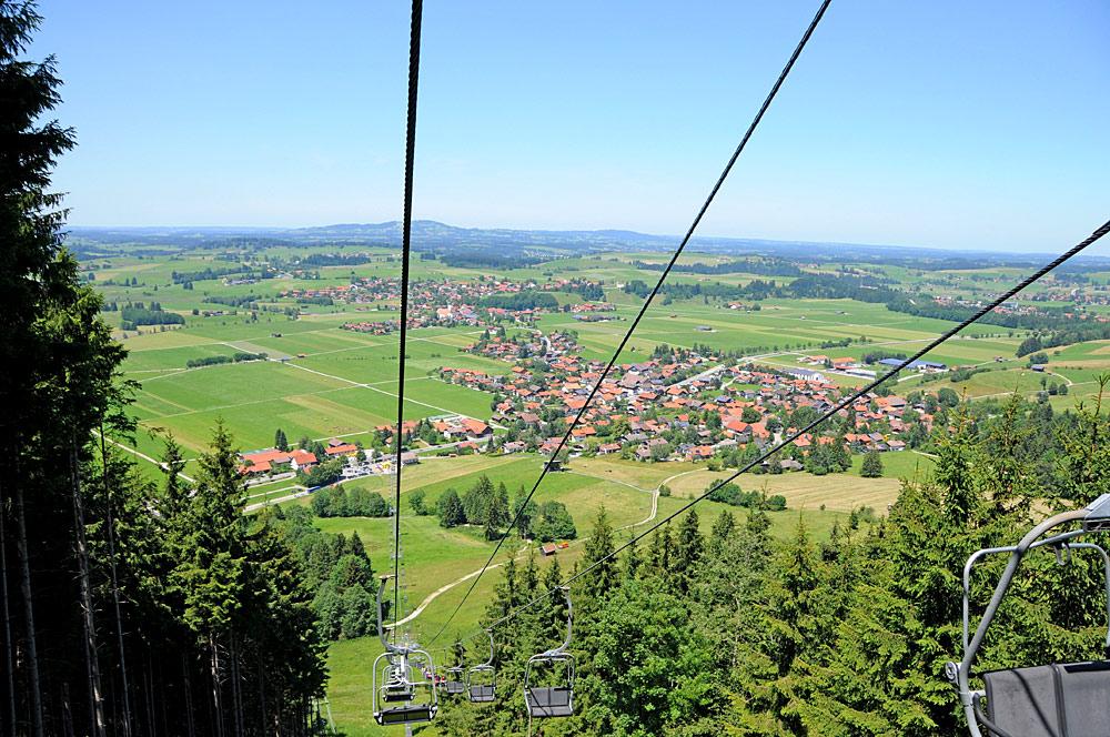 Blick von der Buchenbergbahn auf Halblech-Buching