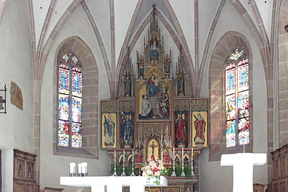 Innenansicht der Pfarrkirche St. Pankraz in St. Pankraz im Ultental