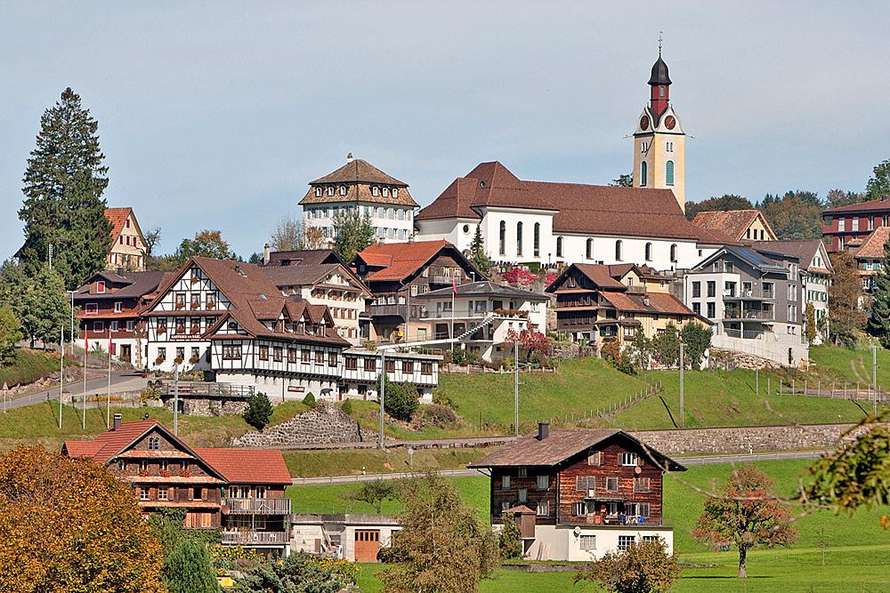 Blick auf den Ortskern von Sattel mit der Pfarrkirche St. Peter und Paul
