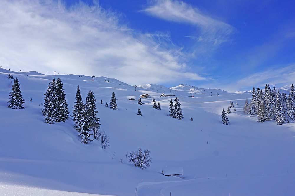 Blick auf die Pisten im Skigebiet Ratschings-Jaufen