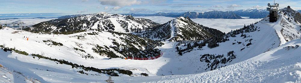 Panoramablick über das Skigebiet am Hochkar