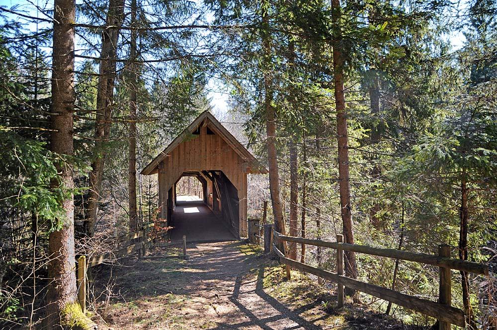 Die holzgedeckte Gießenbrücke zwischen Krumbach und Riefensberg