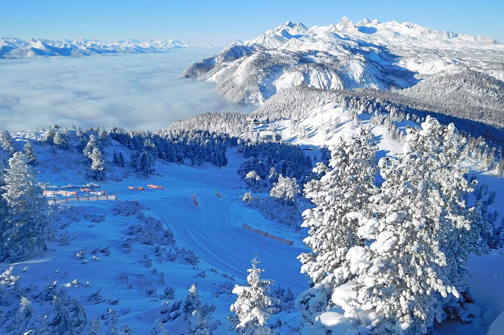 Luftaufnahme des Skigebiets am Stoderzinken