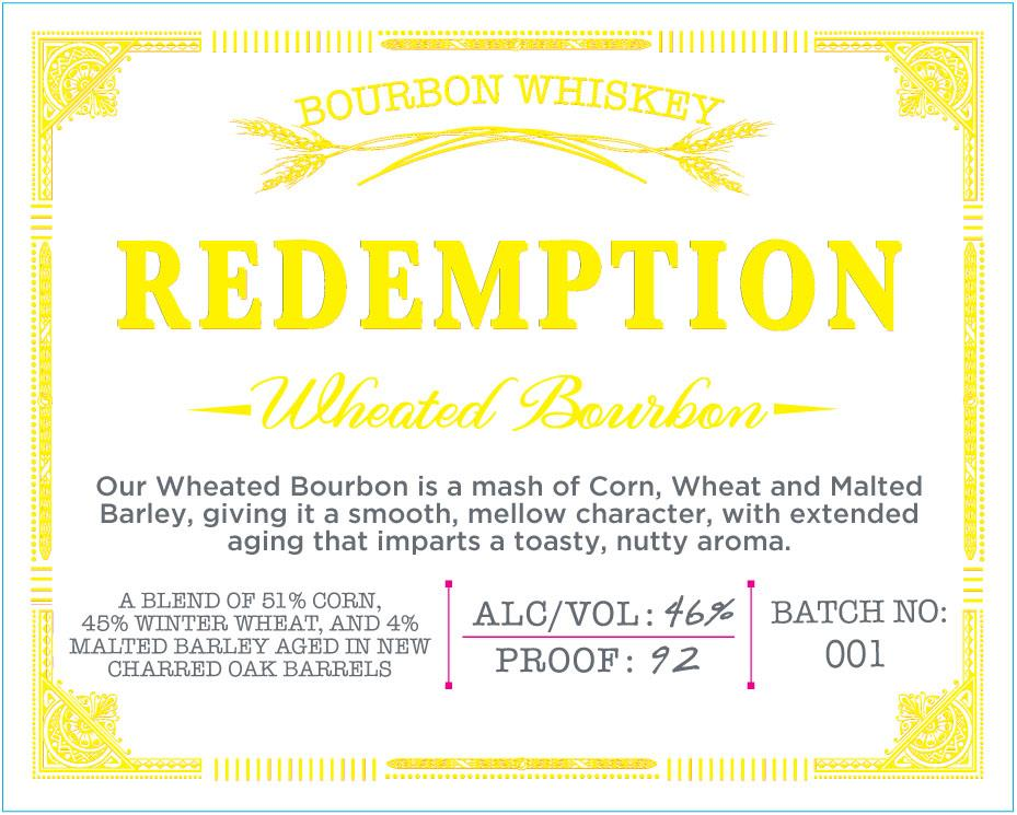 Redemption Wheated Bourbon Whiskey 92 Proof